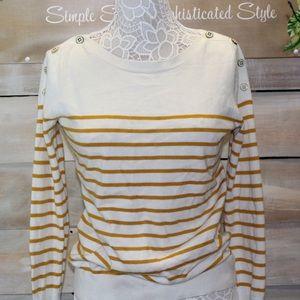 Mustard & White Sweater